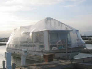 The River Queen all wrapped up and ready for winter.