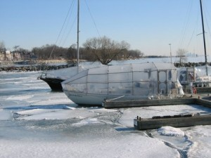This is our Alberg 30 locked into the ice.